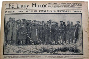 "On January 8, 1915, the Daily Mirror published a group photo under the headline ""An Historic Group."" As the caption states, ""Foes became friends on Christmas Day."" (Courtesy raglinen.com)"