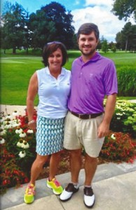 Waters with his mother, Donna Zapata, who sometimes caddies for him.